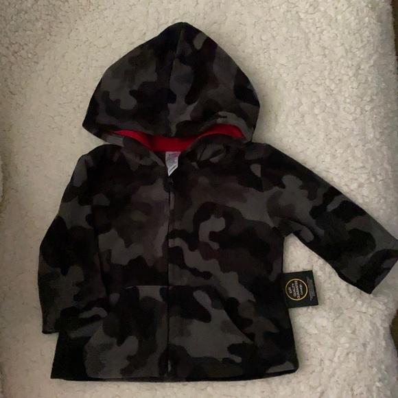 Camo fleece zip up sweater